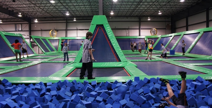 Rebounderz in Newport News is a 35,000 square foot family entertainment center featuring arena style trampolines with rebounding side walls.