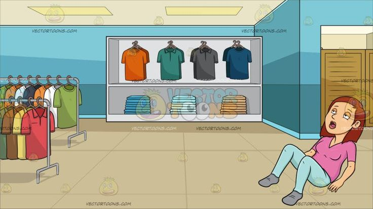 A Woman Fainting On The Floor At Inside A Shirt Shop For Men :  An adult female with medium length red hair wearing a pink shirt light blue leggings and gray shoes drops down on the floor due to being worn out her mouth opened her eyes looking up and half closed. Set in a shop that sells different kinds of polo shirt placed in a white shelf and racks aqua blue walls beige floor paneled ceiling a fitting room section with wooden doors.