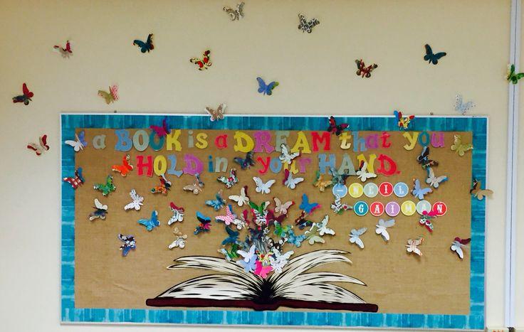 Butterfly 3-D bulletin board for high school classroom.
