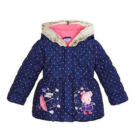 Peppa Pig Girls' navy 'Peppa Pig' applique coat   Debenhams
