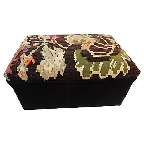 1970s African Mud Cloth Kilim Ottoman