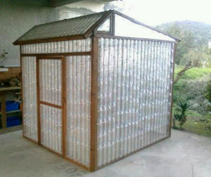 Greenhouse made from recycled plastic bottles.