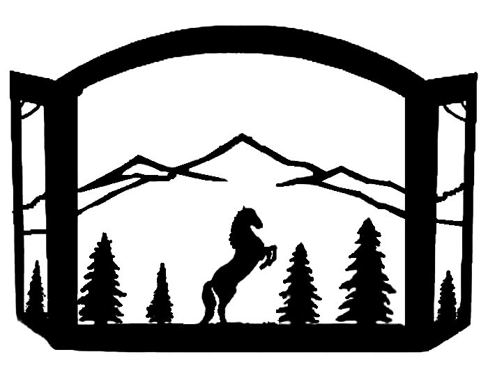Rearing Stallion Horse in mountains Scenic Western Fireplace Screen exclusive design made of heavy recycled steel american made western decor fire screen