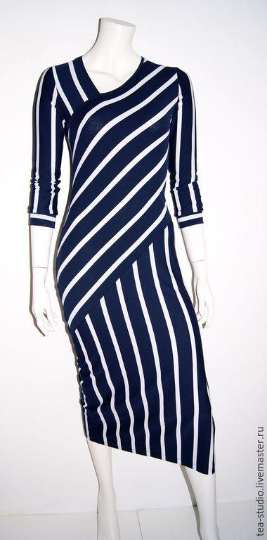Купить Платье модель 173240 - темно-синий, в полоску, платье в полоску, платье, платье повседневное