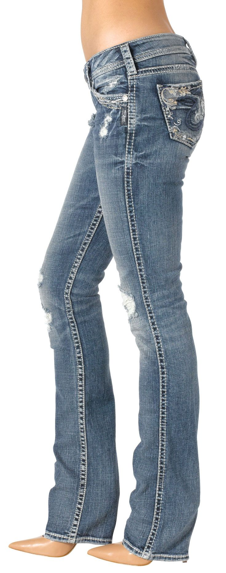 Silver Jeans Tuesday Low Baby Bootcut  --------------------- Besides BKE, I love Silver Jeans. I only have one pair right now and it is a very dark denim. I would like to have something lighter like this pair