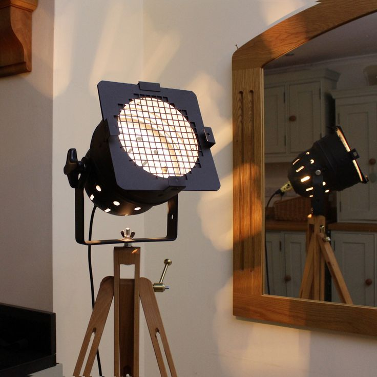 Retro Theatre Lamp on Tripod - Short Spotlight Model - Black