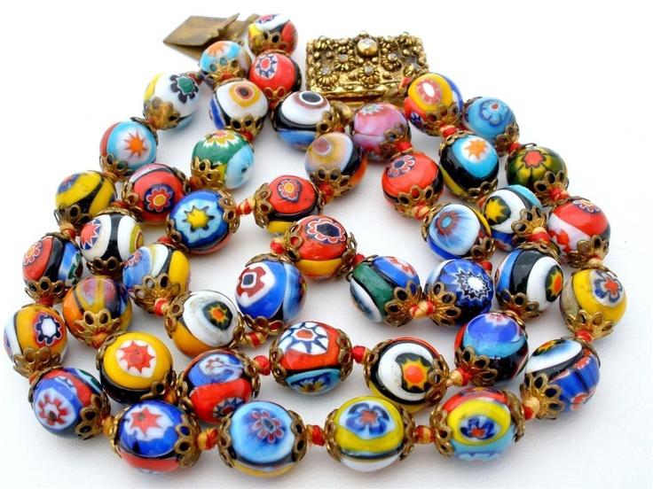 Venetian Murano Wedding Cake Art Glass Bead Bracelet