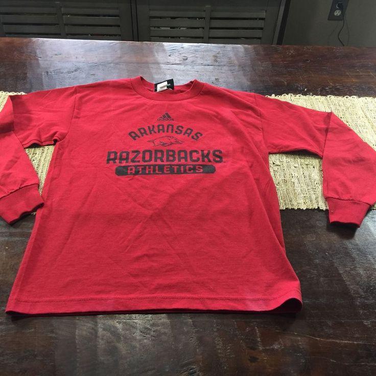 Youth Arkansas Razorbacks Long Sleeve Adidas T Shirt Red Sz Medium #adidas #ArkansasRazorbacks