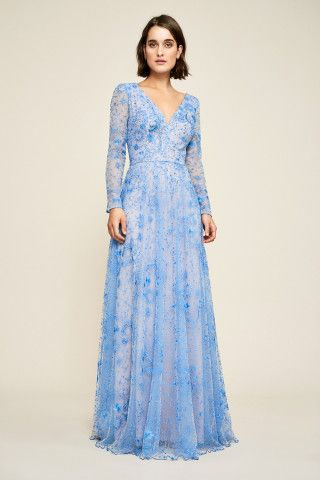 b51686ba7c Tadashi Shoji Apollonia Embroidered Long Sleeve Gown - something blue  wedding dress - boho bohemian celestial moon stars planets - An enchanting  silhouette ...