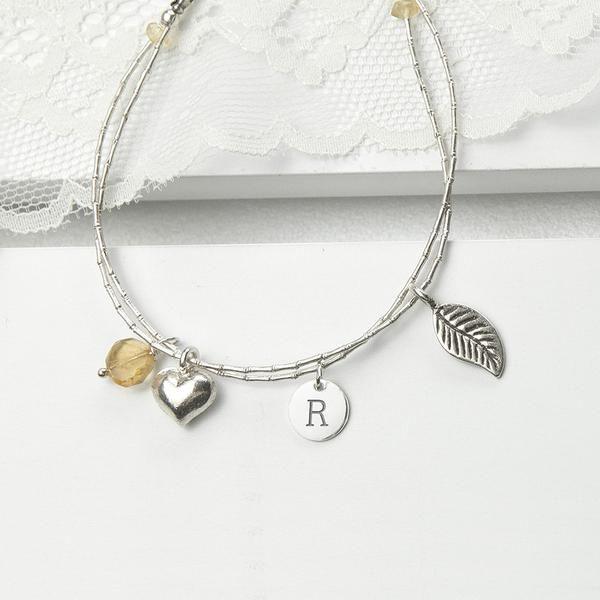 Women's Sterling Silver Personalised Friendship Bracelets Multicoloured (Citron Shown)