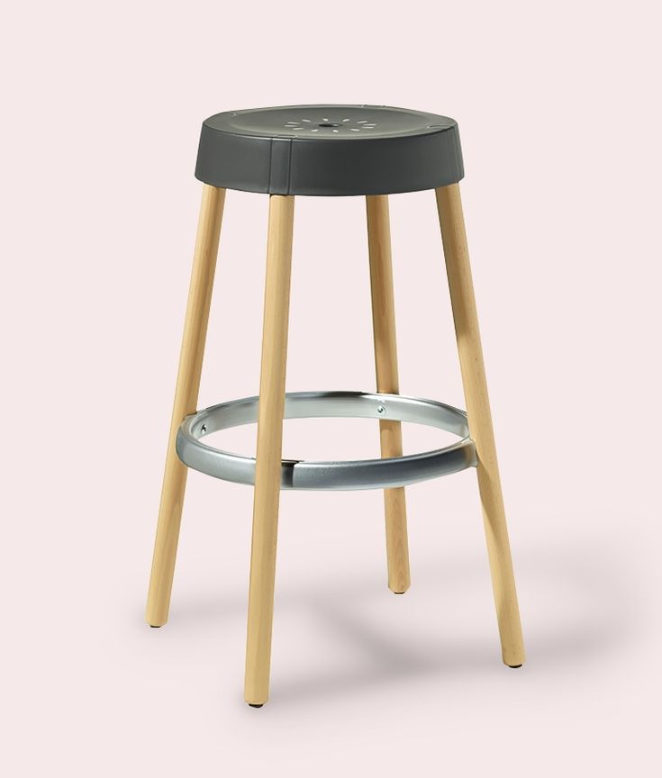 Gim Natural Bar Stool in Anthracite by Impaczone