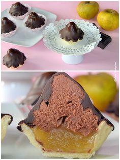 Fiamme al cioccolato e mousse di mele renette