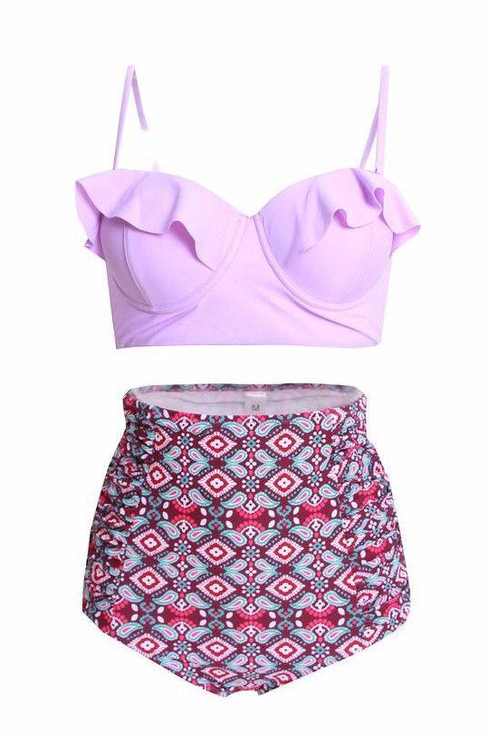Purple High Waisted Bikini