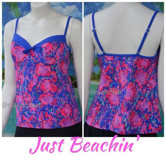 NEW JUST BEACHIN tankini swim top pink blue 14 Tankini swim top by Just Beachin' pairs well with your favorite swim bottoms! Has soft cup full underwire shelf bra. Available in sizes 8, 12, 14. Please check my closet for new with tags swimwear, designer boots, shoes and sandals! Just Beachin Swim Bikinis