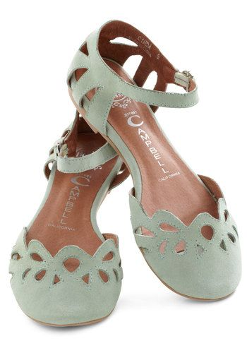 Refresher Course Flat by Jeffrey Campbell - Green, Solid, Cutout, Flat, Leather, Casual, Vintage Inspired, Pastel