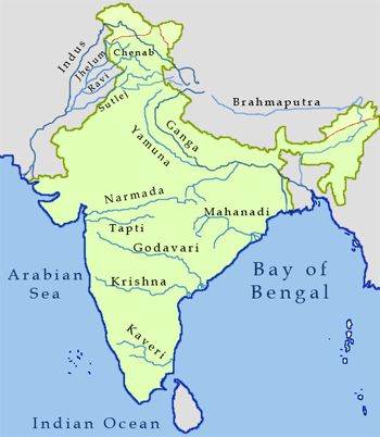 Main Rivers of India Map