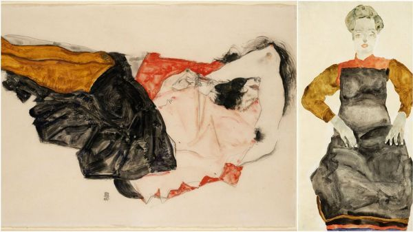 """""""Woman Hiding her Face"""" and """"Woman in a Black Pinafore"""" by Egon Schiele"""