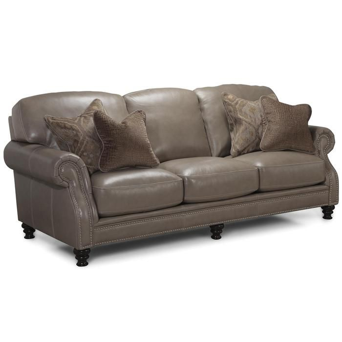Leather Sofa In Longhorn Dove   Nebraska Furniture Mart