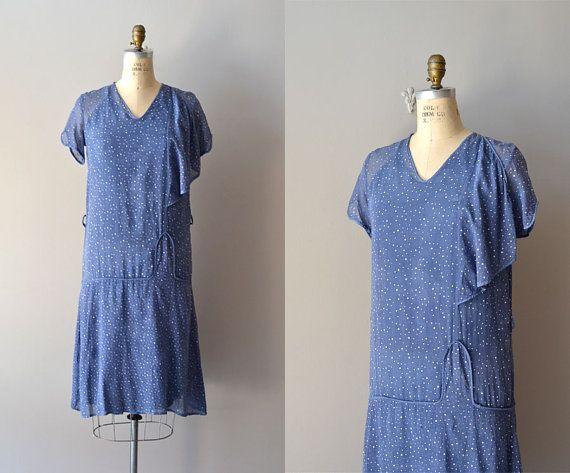 1920s dress / cotton 20s dress / Celestial Guide by DearGolden