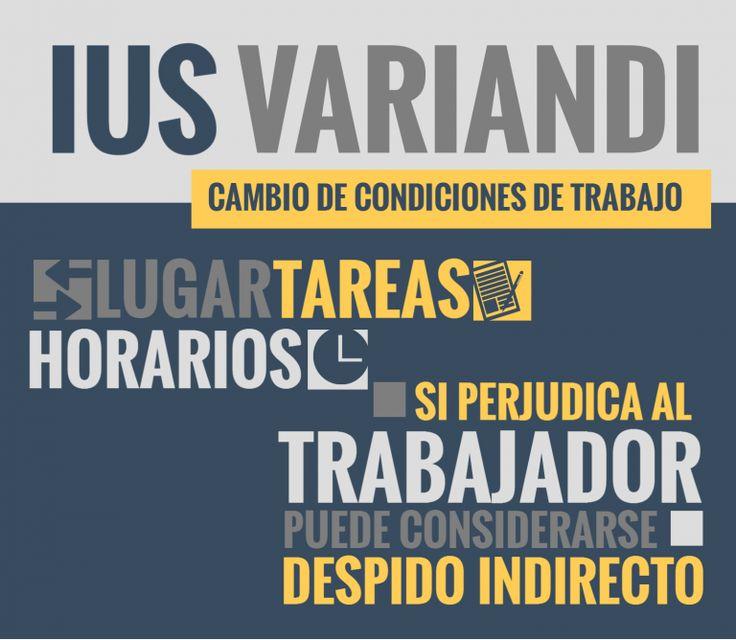 """El cambio de las condiciones de trabajo conocido como """"ius variandi"""" es el  derecho del empleador a modificar las condiciones de trabajo en forma unilateral, en la medida que cumpla con determinadas condiciones y no perjudique al trabajador."""