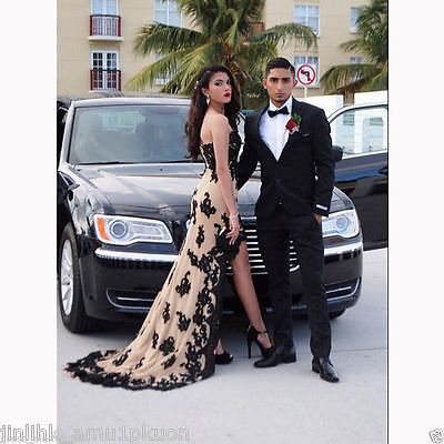 High Slit Maxi Lace Prom Dresses High-Low Appliqued Formal Evening Party Gowns