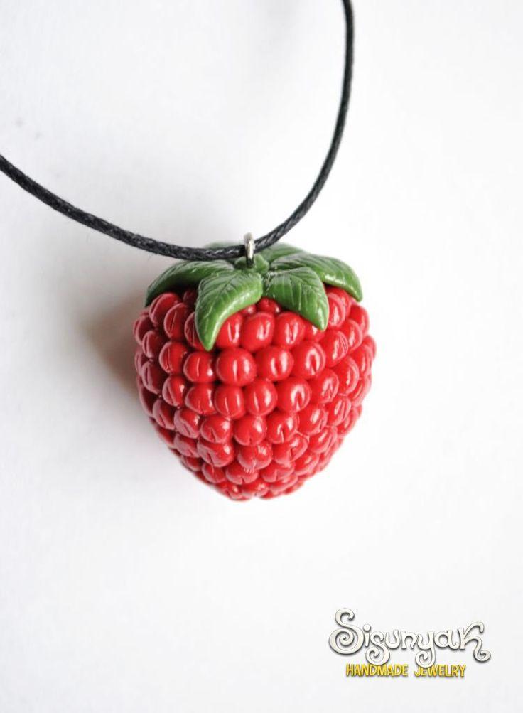 Polymer Clay Raspberry Necklace - DIY idea