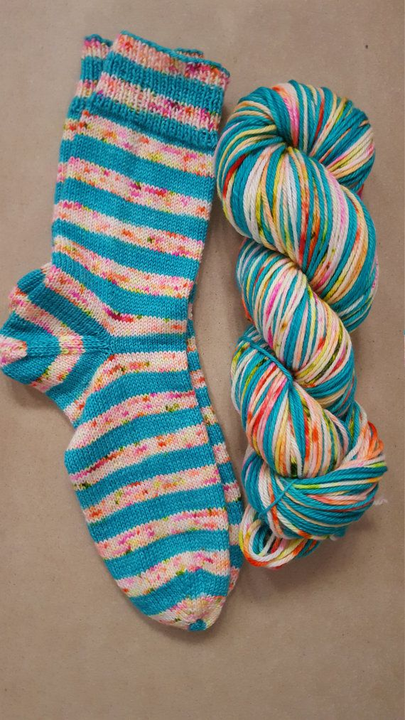 Hand Dyed Self Striping Speckled Sock Yarn by TheYarnJarShop