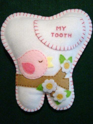 """Girls hand~made felt tooth fairy pillow 7 1/4"""" x 7"""""""