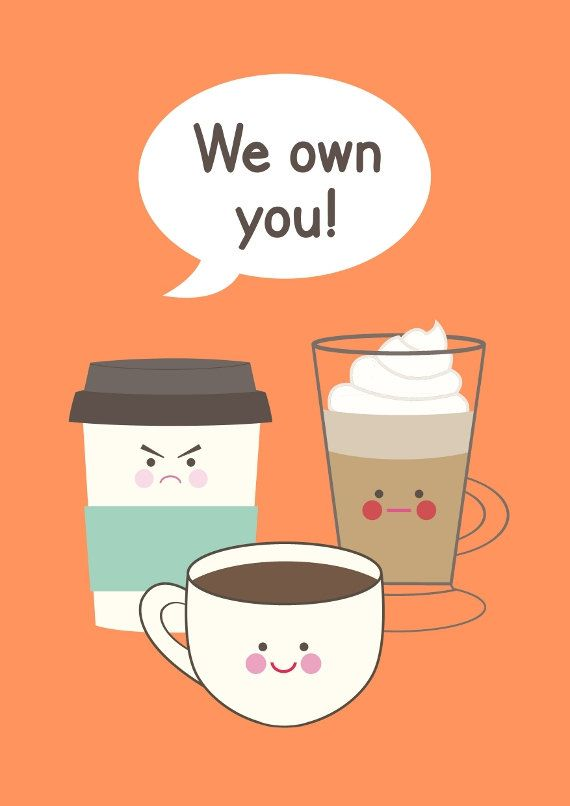 Coffee Illustration kitchen art quote A3 We own by BearAndRobot
