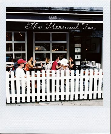 The Mermaid Inn, NYC. Picket fence outside to delineate space.