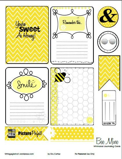 Free Bee Mine Journal Cards and Labels for  Project Life from Vintage Glam Studio