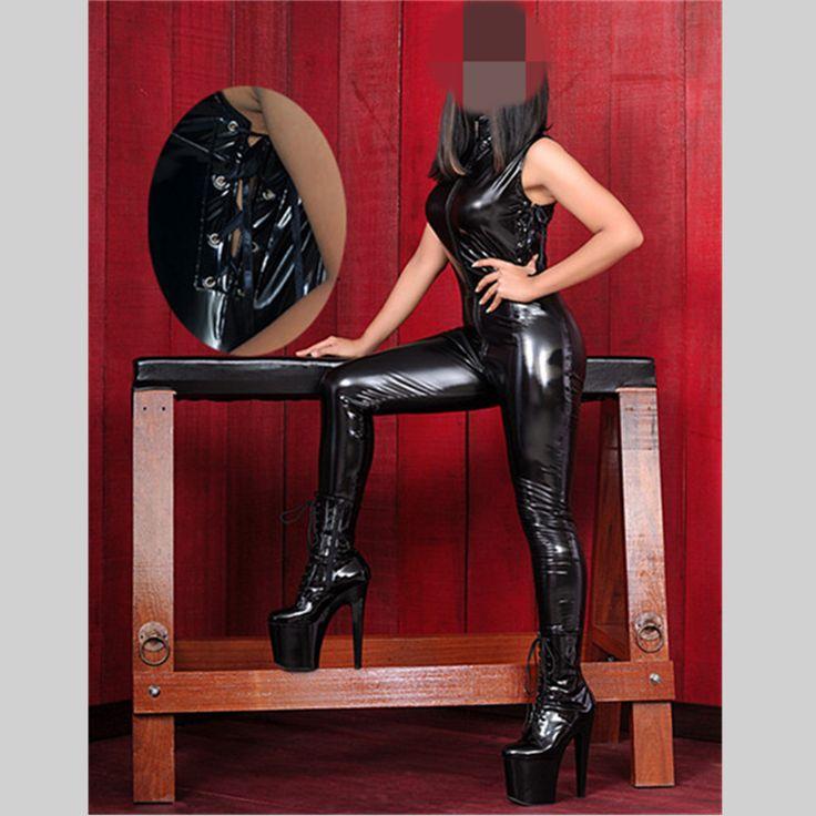 Black Sexy Stripper Clothes Catwomen Sex Women Latex Vinyl Fetish Zentai Jumpsuit Costumes Pole Dance PVC Catsuit Erotic Apparel #Affiliate
