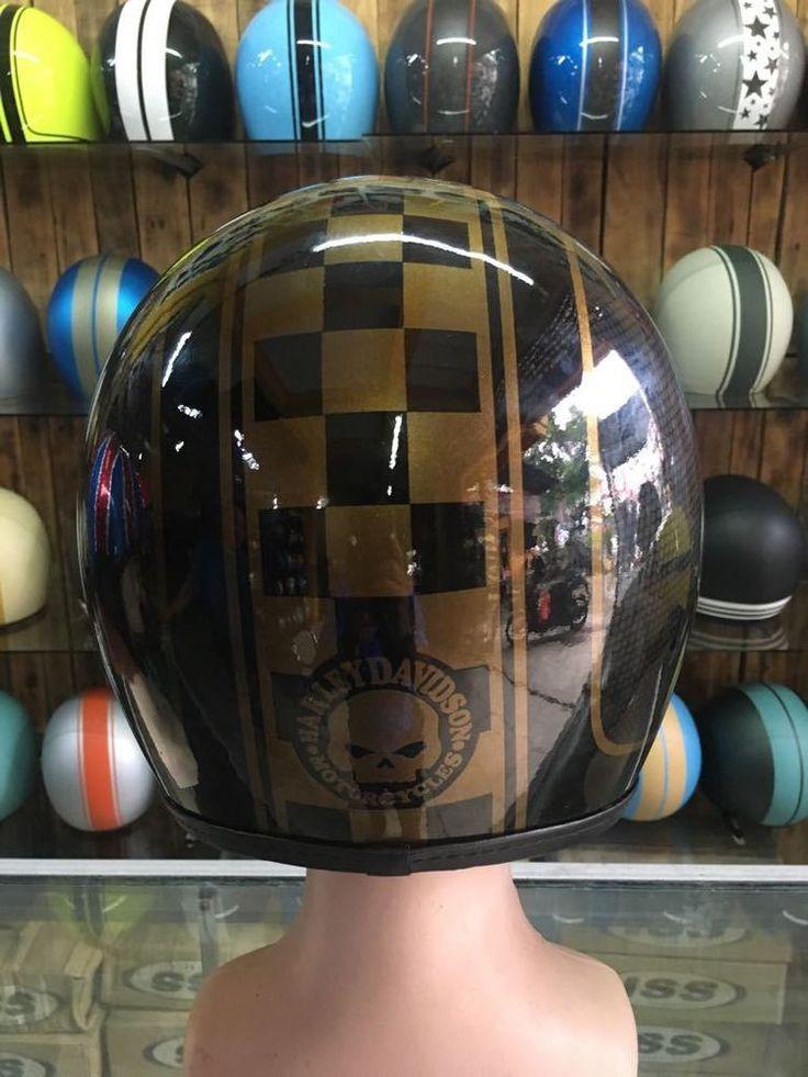 AirBrush Painted Custom Motorcycle Half Helmet With Harley Davidson Skull Style  #Unbranded #Motorcycle