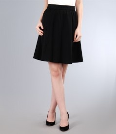 Skirt with gussets in black fabric
