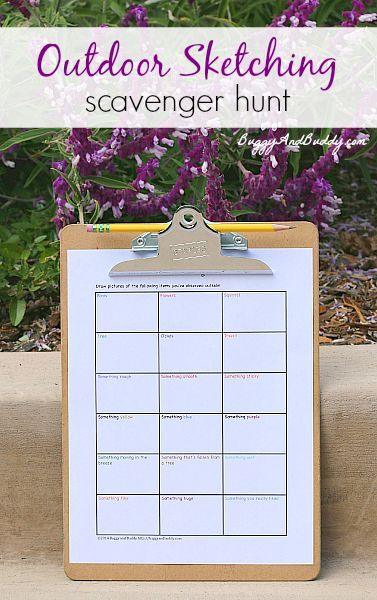 "Outdoor ""Sketching"" Scavenger Hunt (FREE Printable)~ Buggy and Buddy"