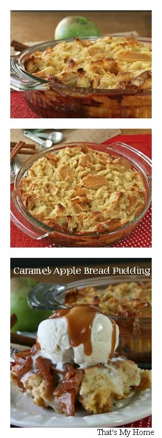 Caramel Apple Bread Pudding www.thenymelrosefamily.com #bread_pudding #dessert #apple