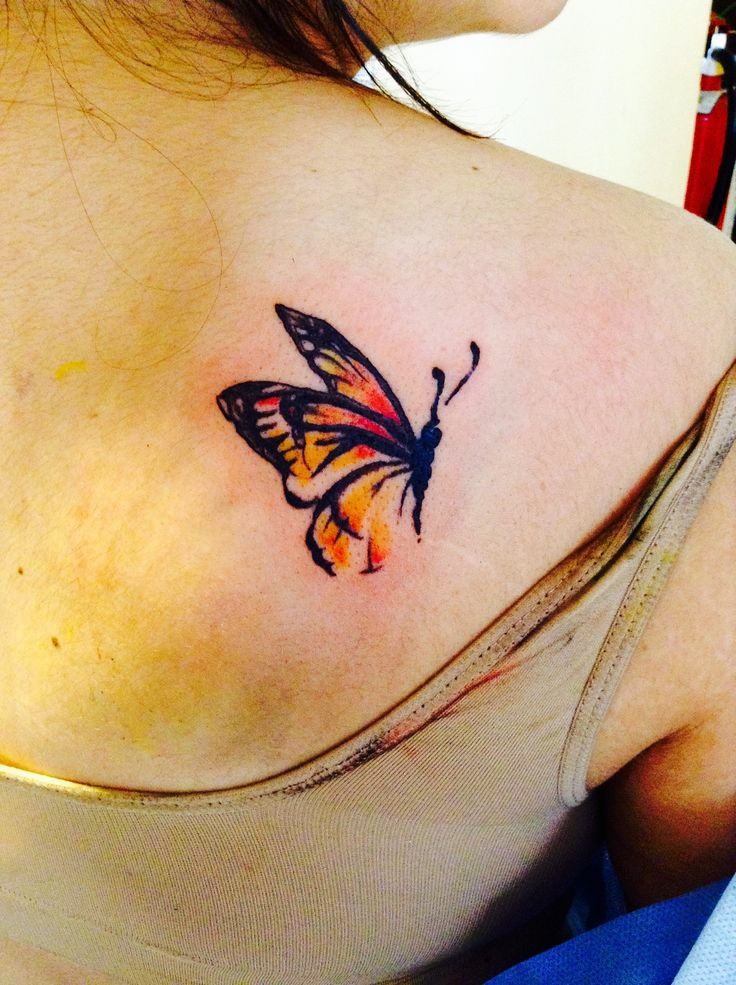 Butterfly watercolor like tattoo
