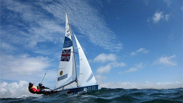 Luke Patience (R) and Stuart Bithell of Great Britain compete in the Men's 470 Sailing