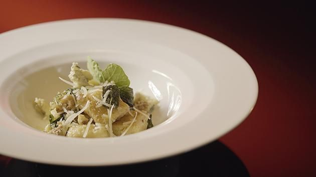 Ricotta Gnocchi, Sage & Walnut Sauce with Blue Cheese