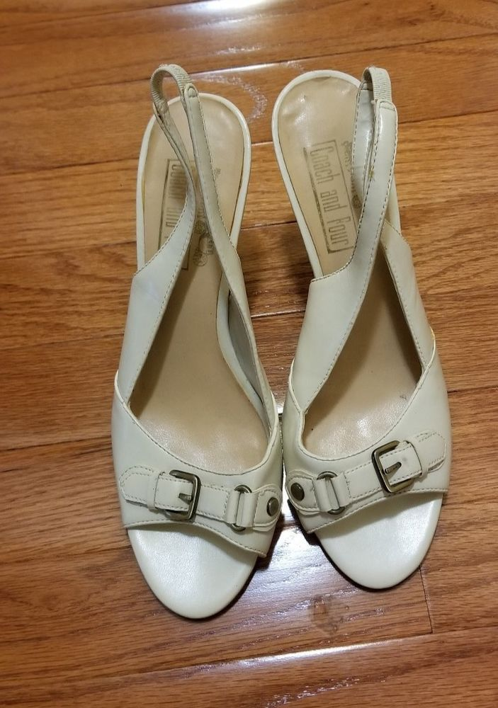 fc7a4fd5fe612 Coach and Four Women's Beige Slingback open toe HeelsSize 8 M #fashion  #clothing #shoes #accessories #womensshoes #heels (ebay link)
