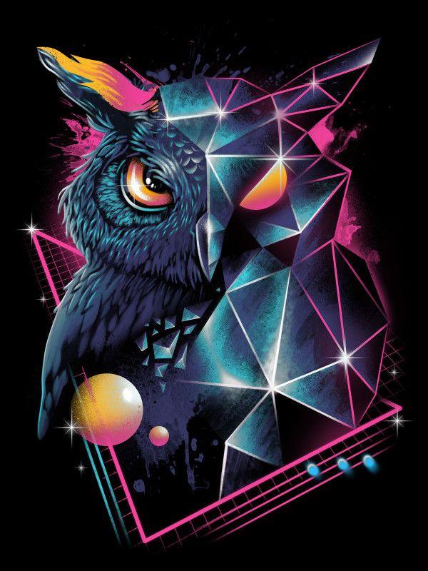 Rad Owl Poster Print By Vp Trinidad Displate In 2020 Owl Wallpaper Owl Wallpaper Iphone Owl Art