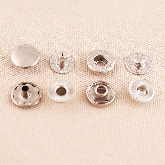 30 Sets Metal Snap Fasteners Press Buttons for Leather Wallet Jackets Crafts