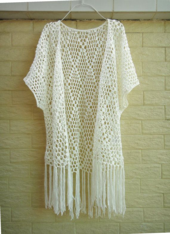 """Fringe Cover Up Long Crochet Cardigan Womens Boho Tunic Top Hippie Clothing Ideal for layering, go perfectly with beach dree, swimwear, crochet bikini set So bohemian chic! elegant sexy piece, made with acrylic cotton yarn  measured 36-40"""" in bust, 26"""" in length and 33"""" long with tassels."""