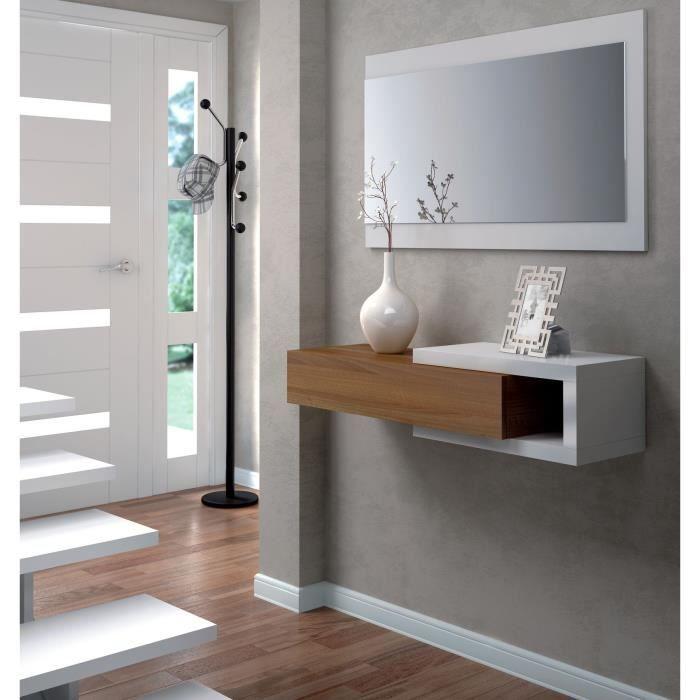MEUBLE D'ENTRÉE NOON Console d'entrée avec miroir blanc et noyer