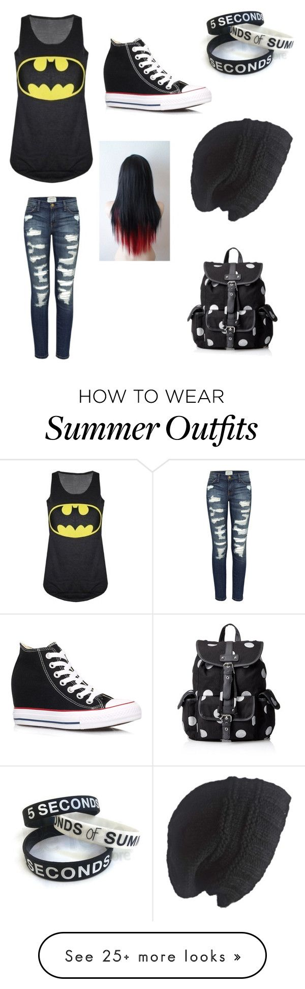 """-OC Outfit #1-"" by invader-senpai on Polyvore featuring Current/Elliott, Converse, Laundromat and Wild Pair"
