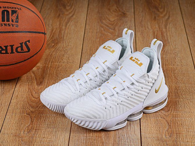 Nike LeBron 16 Lebron James Basketball Shoes White Gold