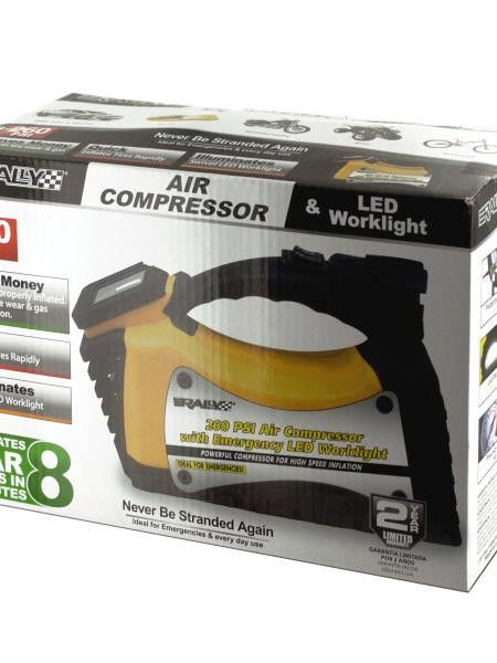 Rally Auto Air Compressor & LED Worklight (Available in a pack of 1)