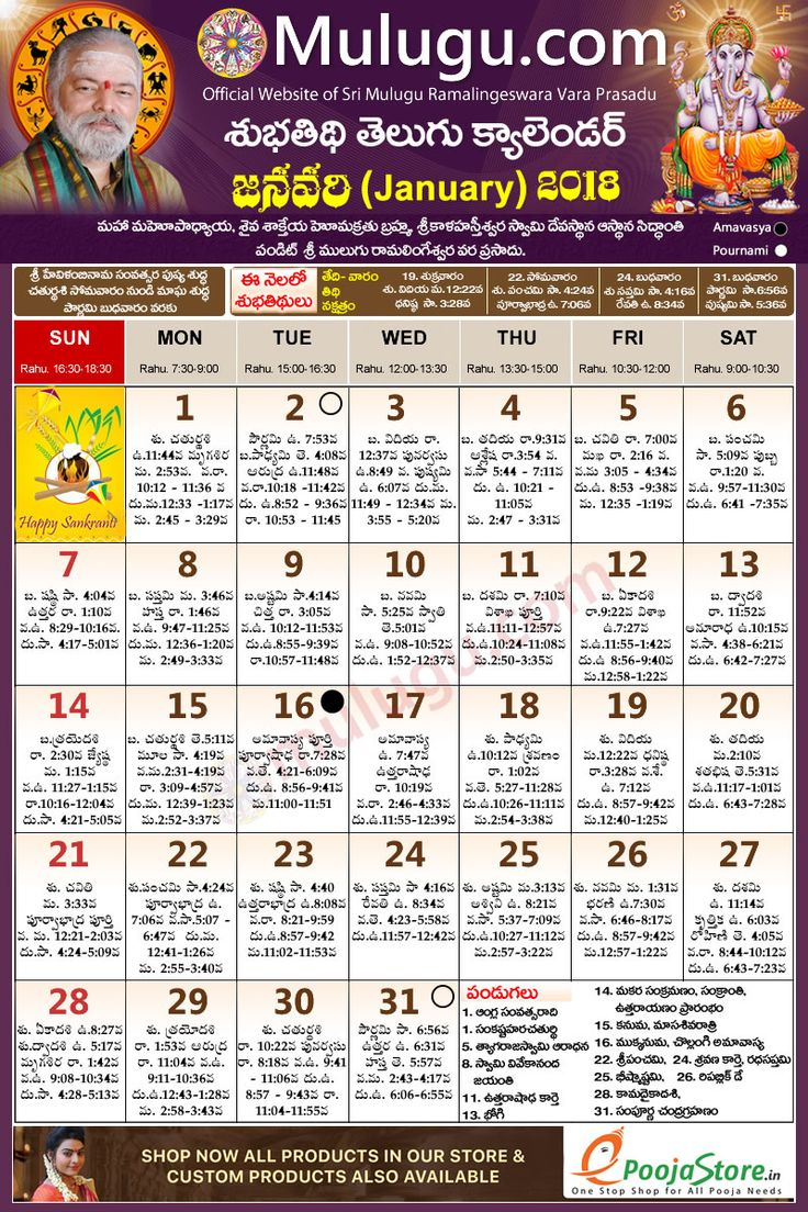 Subhathidi January Telugu Calendar 2018 Telugu Calendar