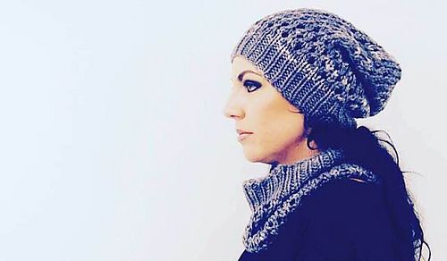 I R O N R A T H - Hat and cowl design by Lisa Mutch.  Steely Nocturne, soft, slouchy set. http://www.ravelry.com/patterns/library/ironrath