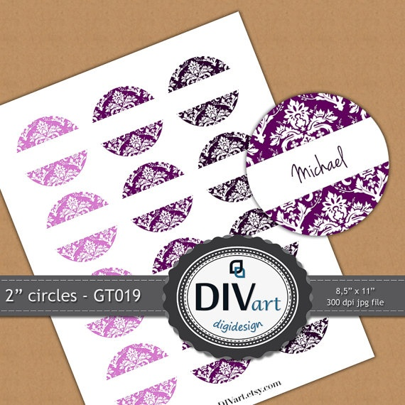 PRINTABLE Damask Gift Tags GT019  2 circles  CHOOSE your by DIVart, $3.00
